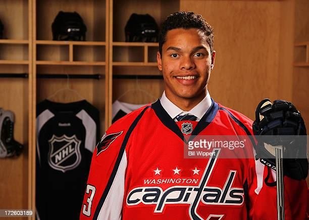 Madison Bowey 53rd pick overall by the Washington Capitals poses for a portrait during the 2013 NHL Draft at Prudential Center on June 30 2013 in...
