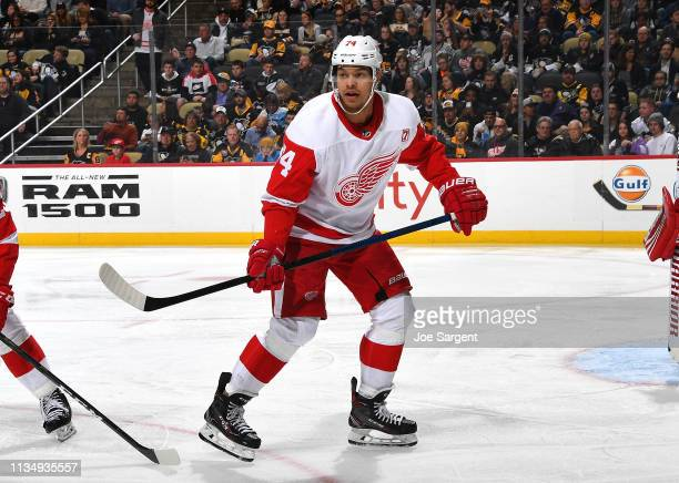 Madison Bowey of the Detroit Red Wings skates during the third period against the Pittsburgh Penguins at PPG Paints Arena on April 4 2019 in...