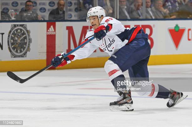 Madison Bowey of the Washington Capitals fires a shot against the Toronto Maple Leafs during an NHL game at Scotiabank Arena on January 23 2019 in...
