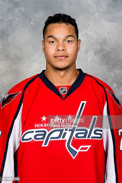 Madison Bowey of the Washington Capitals poses for his official headshot for the 20162017 season on September 22 2016 at Kettler Capitals Iceplex in...