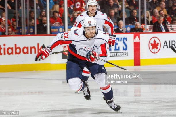 Madison Bowey of the Washington Capitals rushes to action in an NHL game against the Calgary Flames at the Scotiabank Saddledome on October 29 2017...