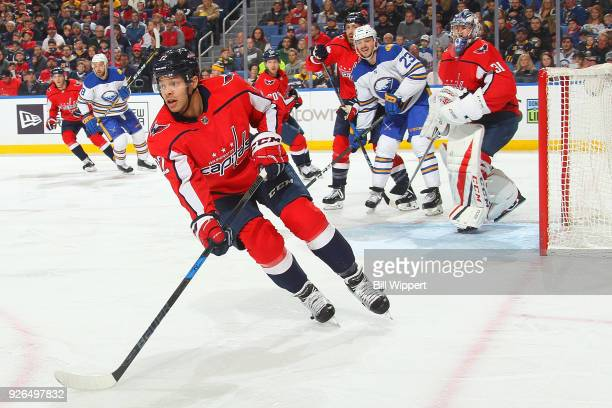Madison Bowey of the Washington Capitals skates against the Buffalo Sabres during an NHL game on February 19 2018 at KeyBank Center in Buffalo New...
