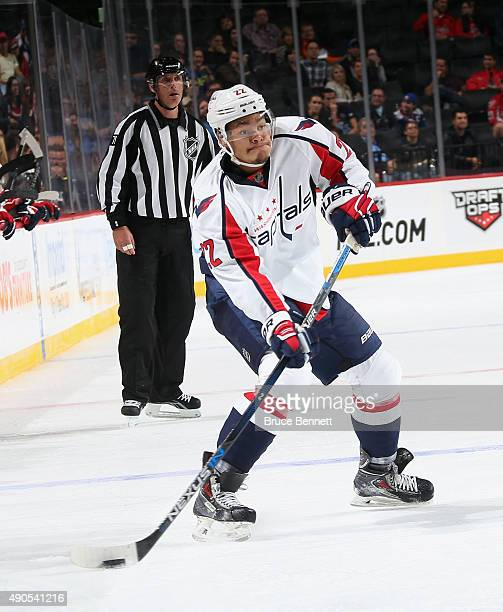 Madison Bowey of the Washington Capitals skates against the Washington Capitals at the Barclays Center on September 28 2015 in Brooklyn borough of...