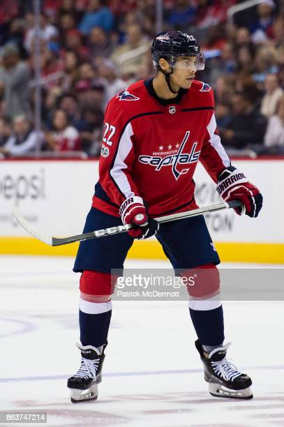 Madison Bowey of the Washington Capitals skates against the Toronto Maple Leafs in the third period at Capital One Arena on October 17 2017 in...