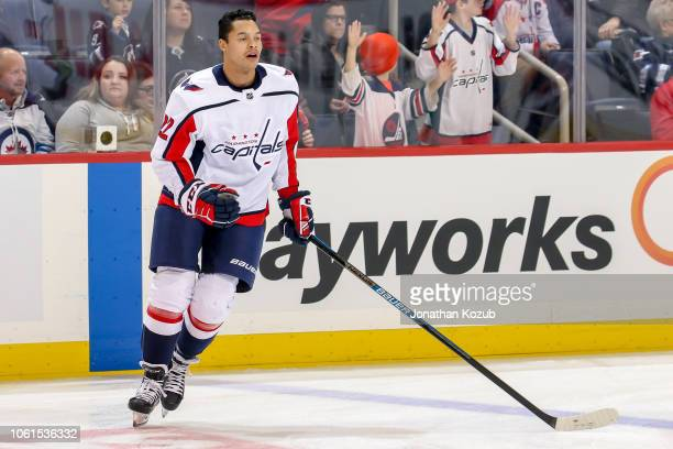 Madison Bowey of the Washington Capitals takes part in the pregame warm up prior to NHL action against the Winnipeg Jets at the Bell MTS Place on...
