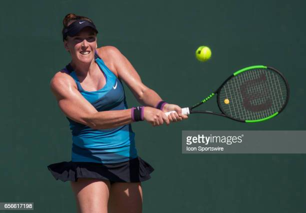 Madison Brengle in action during the second day of the qualifying round of the 2017 Miami Open on March 21 at Tennis Center at Crandon Park in Key...