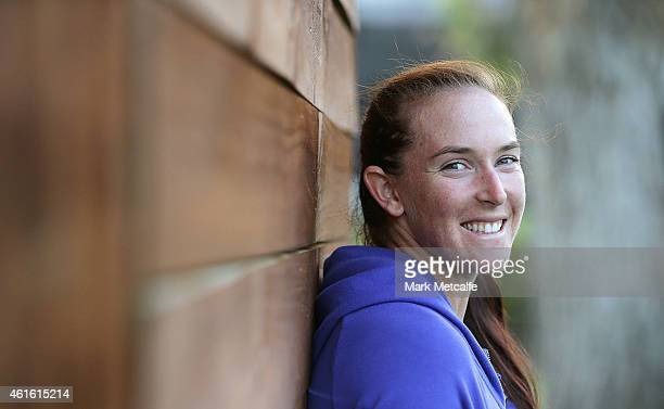 Madison Brengle of the USA poses for a portrait after victory in her semi final match against Kurumi Nara of Japan during day six of the 2015 Hobart...