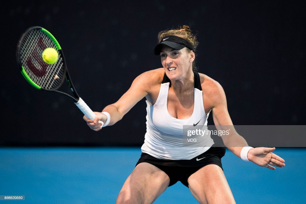 Madison Brengle of USA returns a shot during the Women's singles first round match against Julia Goerges of Germany on day two of 2017 China Open on October 1, 2017 in Beijing, China.
