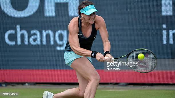 Madison Brengle returns to Richel Hogenkamp on Wednesday 8th of June 2016 at the Ricoh Open Grass Court Championships at the Autotron in Rosmalen in...