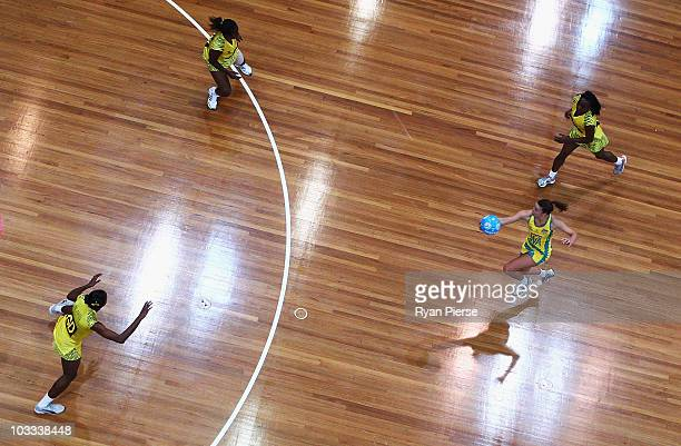Madison Brown of the Diamonds runs into attack during game two of the Holden Netball Test series between the Australian Diamonds and the Jamaica...