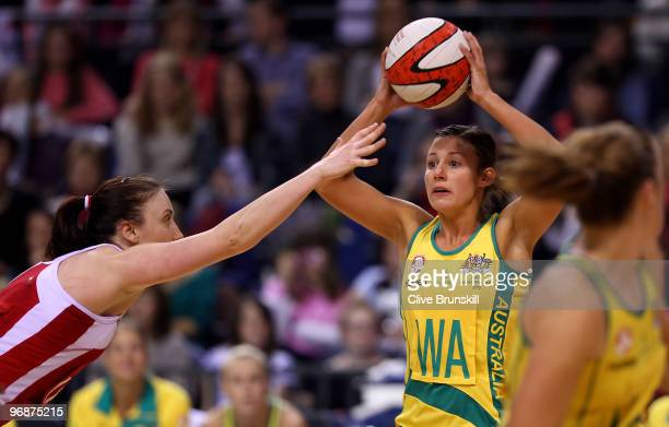 Madison Browne of Australia attempts to pass the ball during the first test of the Cooperative International Netball Series England v Australia at...