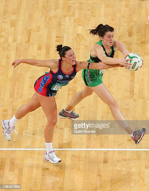 Madison Browne of the Vixens and Andrea Gilmore of the Fever contest for the ball during the round 12 ANZ Championship match between the Melbourne...