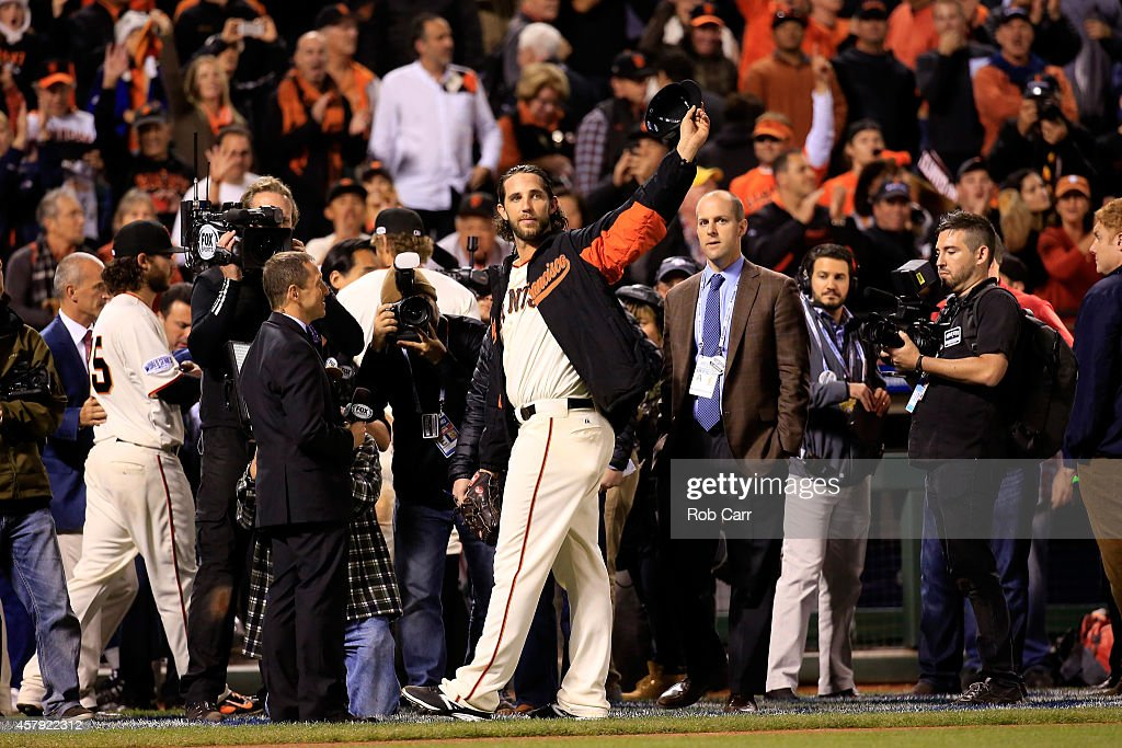 Madison Bumgarner #40 of the San Francisco Giants acknowledges the crowd after defeating the Kansas City Royals 5-0 in Game Five of the 2014 World Series at AT&T Park on October 26, 2014 in San Francisco, California.