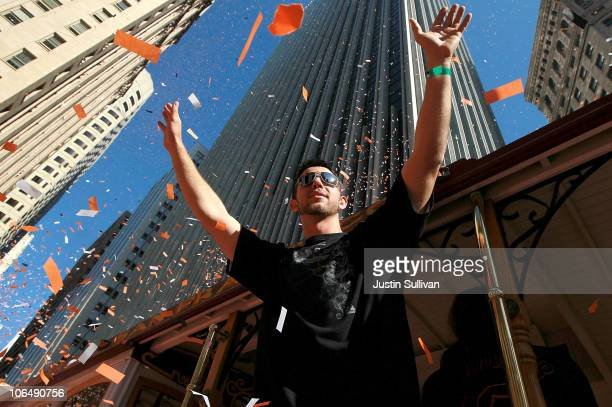 Madison Bumgarner of the San Francisco Giants celebrates during the Giants' vicotry parade on November 3 2010 in San Francisco California Thousands...