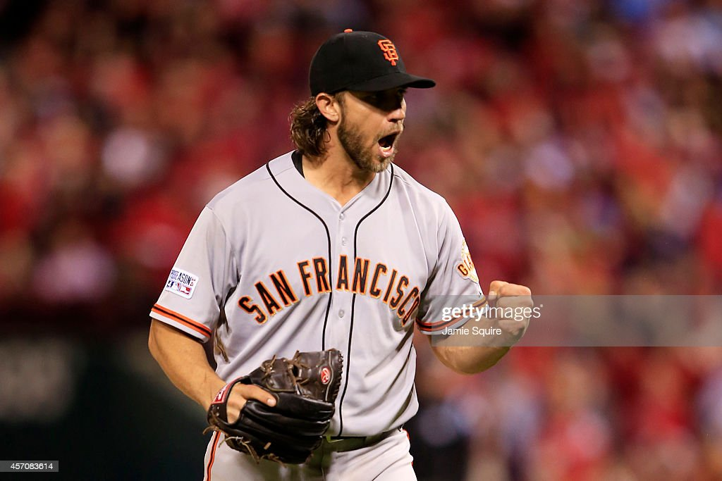 Madison Bumgarner #40 of the San Francisco Giants celebrates the final out of the seventh inning against the St. Louis Cardinals during Game One of the National League Championship Series at Busch Stadium on October 11, 2014 in St Louis, Missouri.