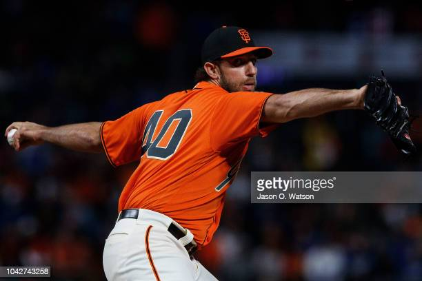 Madison Bumgarner of the San Francisco Giants pitches against the Los Angeles Dodgers during the first inning at ATT Park on September 28 2018 in San...