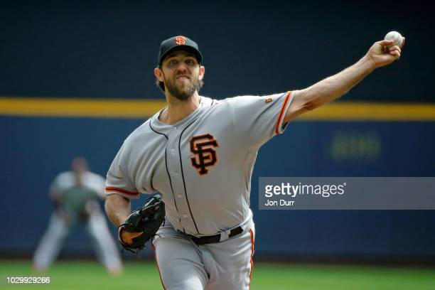 Madison Bumgarner of the San Francisco Giants pitches against the Milwaukee Brewers during the first inning at Miller Park on September 9 2018 in...