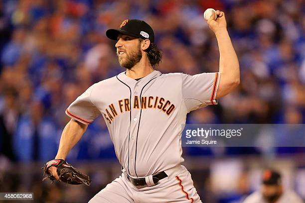 Madison Bumgarner of the San Francisco Giants pitches against the Kansas City Royals in the fifth inning during Game Seven of the 2014 World Series...