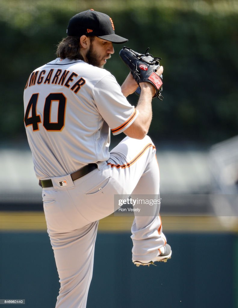 Madison Bumgarner #40 of the San Francisco Giants pitches against the Chicago White Sox on September 10, 2017 at Guaranteed Rate Field in Chicago, Illinois. The White Sox defeated the Giants 8-1.