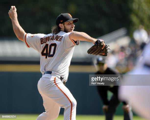 Madison Bumgarner of the San Francisco Giants pitches against the Chicago White Sox on September 10 2017 at Guaranteed Rate Field in Chicago Illinois...