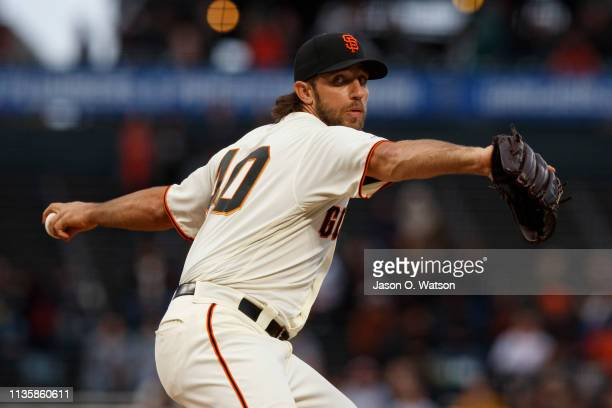 Madison Bumgarner of the San Francisco Giants pitches against the San Diego Padres during the first inning at Oracle Park on April 8 2019 in San...