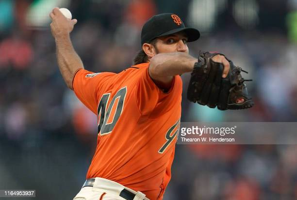 Madison Bumgarner of the San Francisco Giants pitches against the San Diego Padres in the top of the first inning at Oracle Park on August 30 2019 in...