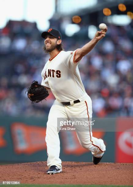 Madison Bumgarner of the San Francisco Giants pitches against the San Diego Padres in the first inning at ATT Park on July 20 2017 in San Francisco...