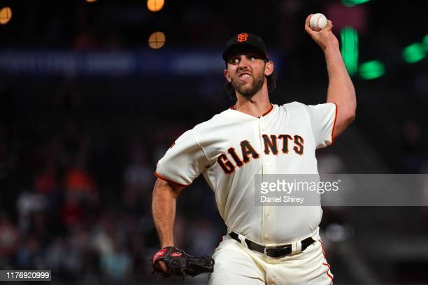 Madison Bumgarner of the San Francisco Giants pitches during the second inning against the Colorado Rockies at Oracle Park on September 24 2019 in...
