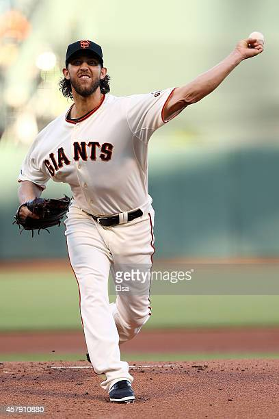 Madison Bumgarner of the San Francisco Giants pitches in the first inning against the Kansas City Royals during Game Five of the 2014 World Series at...