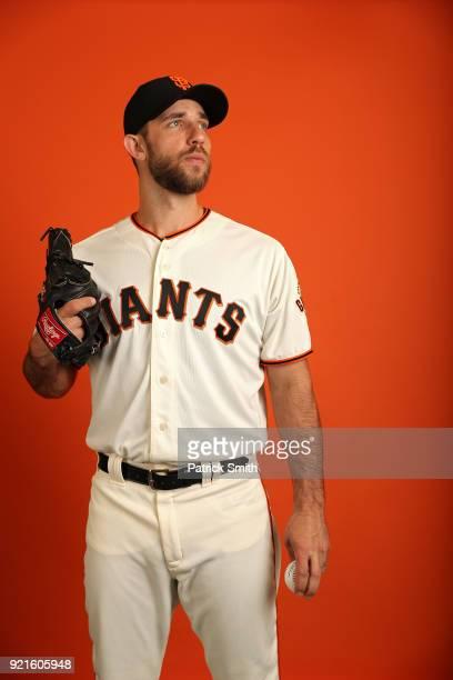 Madison Bumgarner of the San Francisco Giants poses on photo day during MLB Spring Training at Scottsdale Stadium on February 20 2018 in Scottsdale...