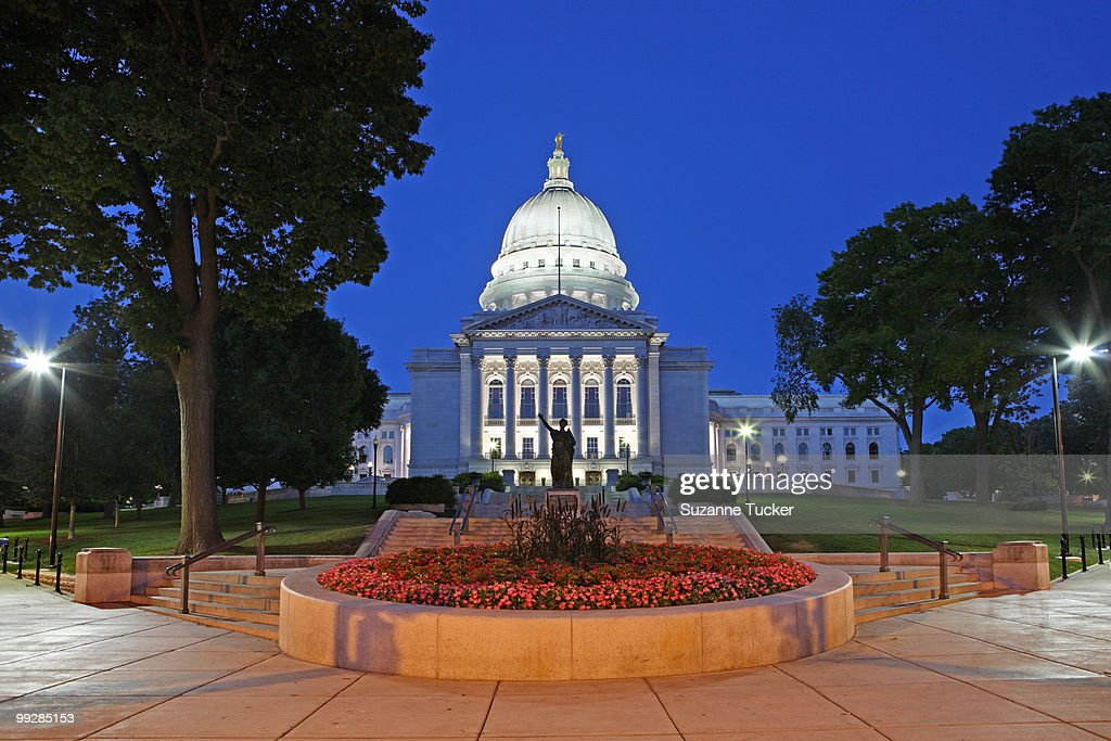 Madison Capitol at night : Stock Photo
