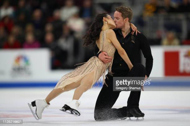 Madison Chock and Evan Bates compete in the championship free dance during the 2019 U.S. Figure Skating Championships at Little Caesars Arena on...