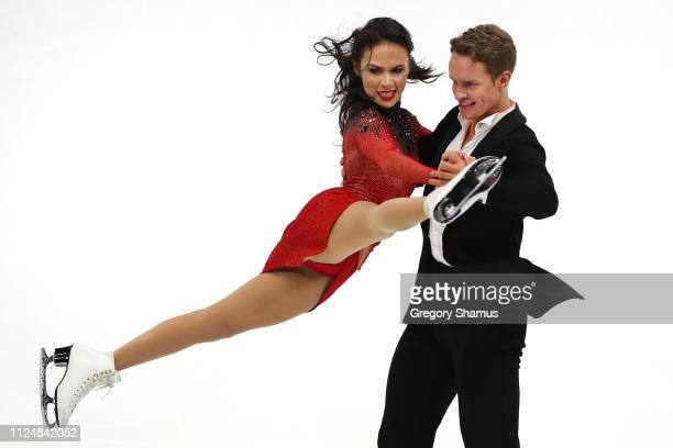 Madison Chock and Evan Bates compete in the Championship Rhythm Dance during the 2019 US Figure Skating Championships at Little Caesars Arena on...