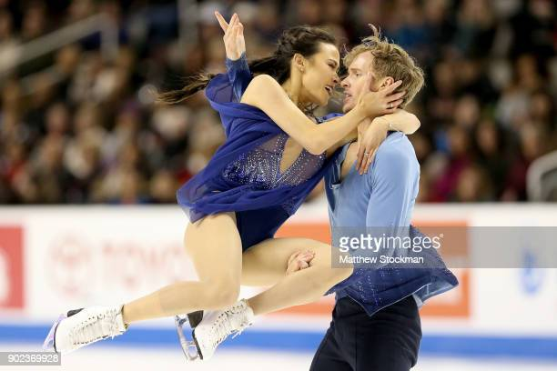 Madison Chock and Evan Bates compete in the Free Dance during the 2018 Prudential US Figure Skating Championships at the SAP Center on January 7 2018...
