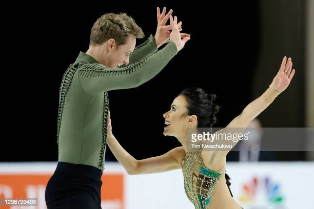 Madison Chock and Evan Bates compete in the free skate program during the U.S. Figure Skating Championships at the Orleans Arena on January 16, 2021...