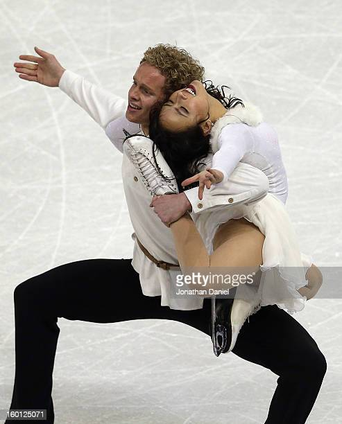 Madison Chock and Evan Bates compete in the Pairs Free Dance during the 2013 Prudential U.S. Figure Skating Championships at CenturyLink Center on...