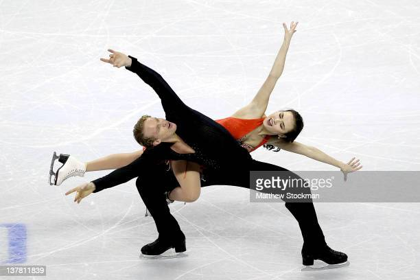 Madison Chock and Evan Bates compete in the Senior Short Dance during the 2012 Prudential US Figure Skating Championships at the HP Pavilion on...