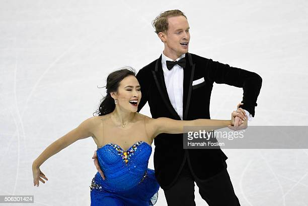 Madison Chock and Evan Bates compete in the Short Dance at the 2016 Prudential US Figure Skating Championship on January 22 2016 at Xcel Energy...