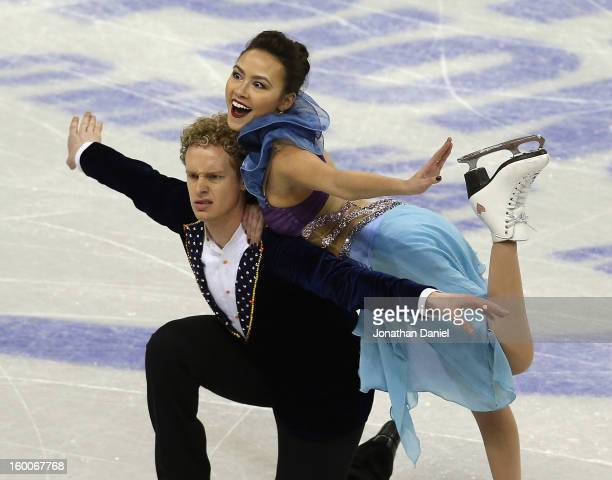 Madison Chock and Evan Bates compete in the Short Dance Program during the 2013 Prudential U.S. Figure Skating Championships at CenturyLink Center on...