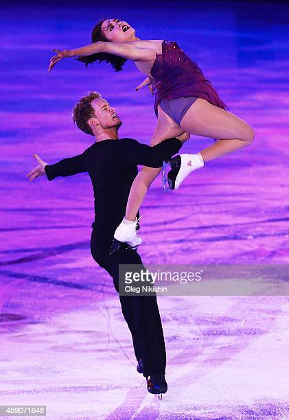 Madison Chock and Evan Bates from USA ice dancing gold medal winners perform during ISU Rostelecom Cup of Figure Skating 2014 on November 16 2014 in...