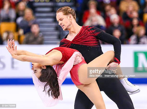 Madison Chock and Evan Bates of the United States compete during Day 4 of the ISU World Figure Skating Championships 2016 at TD Garden on March 31...