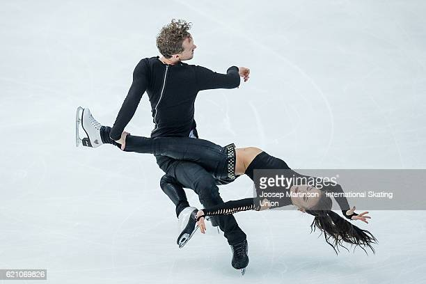Madison Chock and Evan Bates of the United States compete during Ice Dance Short Dance on day one of the Rostelecom Cup ISU Grand Prix of Figure...