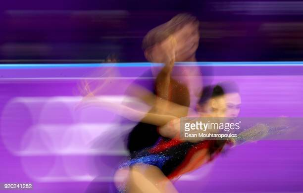 Madison Chock and Evan Bates of the United States compete during the Figure Skating Ice Dance Short Dance on day 10 of the PyeongChang 2018 Winter...
