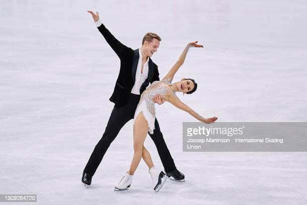Madison Chock and Evan Bates of the United States compete in the Ice Dance Rhythm Dance during day three of the ISU World Figure Skating...