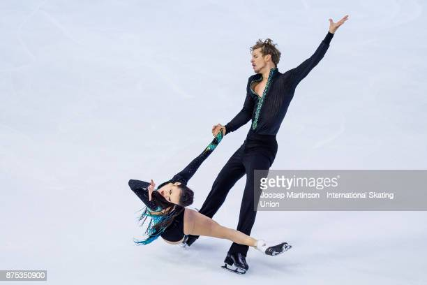 Madison Chock and Evan Bates of the United States compete in the Ice Dance Short Dance during day one of the ISU Grand Prix of Figure Skating at...