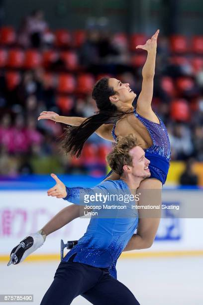 Madison Chock and Evan Bates of the United States compete in the Ice Dance Free Dance during day two of the ISU Grand Prix of Figure Skating at...