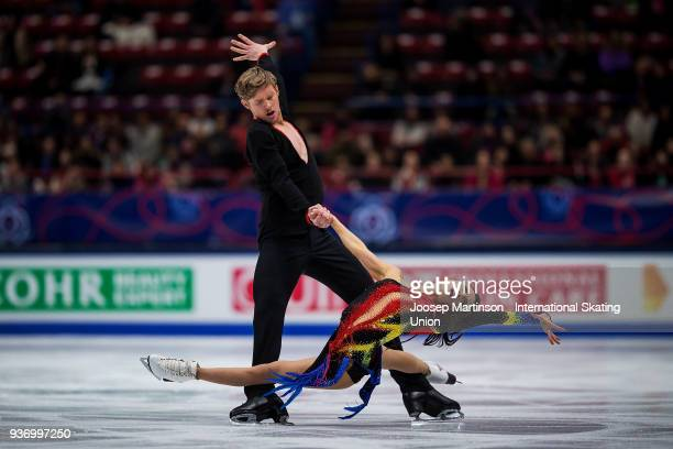 Madison Chock and Evan Bates of the United States compete in the Ice Dance Free Dance during day two of the World Figure Skating Championships at...