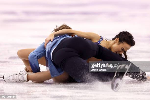 Madison Chock and Evan Bates of the United States fall while competing in the Figure Skating Ice Dance Free Dance on day eleven of the PyeongChang...