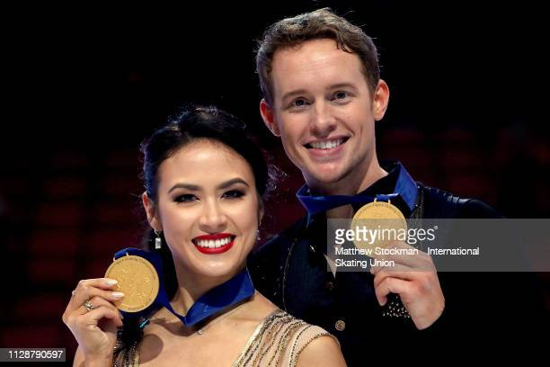 Madison Chock and Evan Bates of the United States pose for a portrait after the Dance Final during the ISU Four Continents Figure Skating...