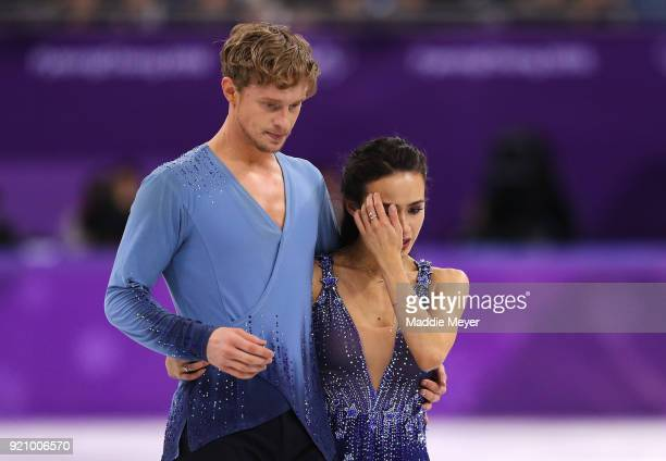 Madison Chock and Evan Bates of the United States react after competing in the Figure Skating Ice Dance Free Dance on day eleven of the PyeongChang...